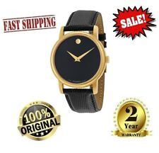 ✅ MOVADO Museum 2100005 Gold Classic Black Dial Leather Wrist Watch Men's