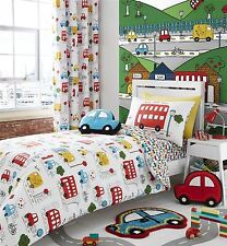 CARTOON CARS BUSES VANS RED BLUE WHITE COTTON BLEND SINGLE DUVET COVER
