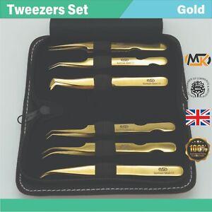 Eyelash Extension Tweezers Volume Individual Isolation Lash Gold 2D-8D Set