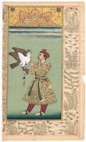 Hand Painted Miniature Portrait Mughal King Maharaja Emperor Jahangir On Paper