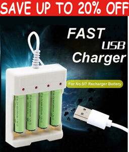 4Slot Battery Charger Fast Charger for AA AAA Rechargeable Batteries Universal E