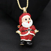 Red Enamel Crystal Santa Claus Pendant Sweater Chain Betsey Johnson Necklace