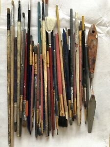Paint Brushes Various Different Size And Styles. Pack Of 34 Used Brushes