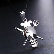 Anime One Piece Sanji Skull Pirate Necklace Unisex Chain Pendant Cosplay Gift