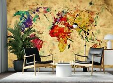 Wallpaper Mural Photo World Map WALL DECOR Giant Paper Poster Free Glue Vintage