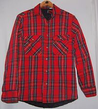 Vtg Private Property Mens Lumberjack Flannel Jacket Coat Red Green Blue Plaid M