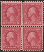 US Stamp - 1916 2c Washington Type I, Unwmk Perf 10 - 4 Stamp Block MNH #463