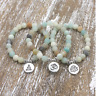 Women Men Matte Amazonite Stone Lotus Buddha Yoga Bracelets Chakra Mala Beads S5