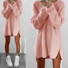 Plus Size Womens Wool Long Sleeve Knit Jumper Dress Top Loose Casual Sweatshirts