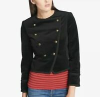 Tommy Hilfiger Velvet Women's Double-Breasted Jacket, Black, Size 6 Military