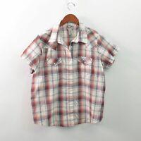 Wrangler Wrancher Western Pearl Snap Shirt Short Sleeve Womens 2XL XXL