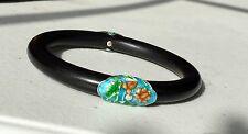 Vintage Ebony Wood Bangle Bracelet with enamel silver