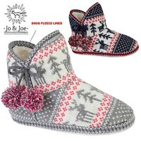 Ladies Knitted Bootie Fairisle Fur Fleece Lined Womens Slippers Pompom Boot Size