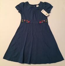 NWT Gymboree Lots of Dots Sz 7 Blue Button Trim Knit Dress