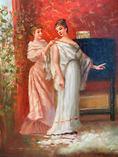 """2 Women Dressing Hand Painted 8""""x10"""" Oil Painting Unstretched Canvas Art"""