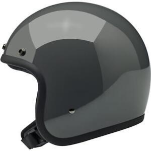 Biltwell Bonanza Open Face Motorcycle Helmet - Gloss Storm Grey - Choose Size