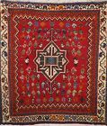 Vintage Paisley Tribal Abadeh Area Rug Hand-knotted Oriental Carpet 2'x2' Square