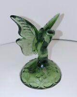 Fenton Art Glass Green Ring Holder Butterfly Figurine - 1980's