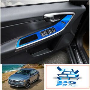 For Volvo S60 V60 2012-2020 Blue titanium Window lift panel switch cover trim