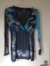 DEPT Shirt Langarm Oberteil XS 34 Blumen Muster Blau Türkis Rosa NEU Ausschnitt
