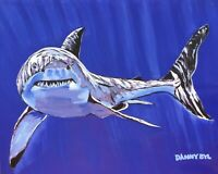 Shark Ocean Beach Original Art PAINTING DAN BYL Modern Contemporary Large 4x5 ft