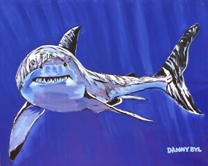 Shark Ocean Beach Original Art PAINTING DAN BYL Modern Contemporary Large 4x5 ft