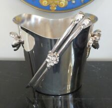 Christofle ANEMONE-BELLE EPOQUE Art Nouveau Silver Plated Ice Bucket and Tongs
