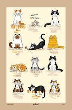 Cuando el gato lejos/Lino/Unión/toalla de té// Paño Vintage/señaló Allan/Nuevo