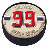 Wayne Gretzky Edmonton Oilers 3D Textured Silver Plated Medallion Hockey Puck