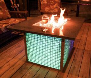 Outdoor Propane Glass Fire Pit w/ LED Lights| Smokey Grey Granite Top