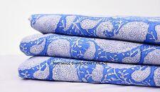 Paisley Cotton Hand Block Printed Fabric Indian Dressmaking Craft 5 Yard Fabric