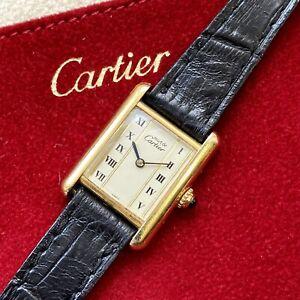 Ladies Cartier Tank Must De Gold Vermeil White Roman Numerals Box & 1yr Warranty