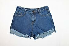 Unbrand Blue Cut Off Frayed Finish Denim Shorts Size XL BNWT #TK91