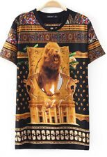 Damen Herren Long T Shirt T-Shirt Lion Löwen Print Statement Blogger Tall Tee