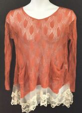 Womens LARGE Long Sleeve Crochet And Lace Sweater Lagenlook BOHO Loose Fit