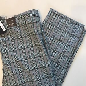 "M&S 20 27"" Leg - Straight Leg Green Check Trousers Crop Length High Rise RRP 35"