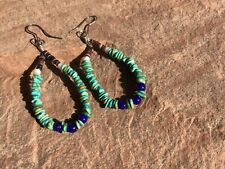Beaded Sterling Silver Hoop Earrings Vintage Native Turquoise Heishi Blue