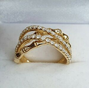 14ct Gold 1 carat Diamond Bamboo Ring Stunning Quality & Condition Size N. NICE1