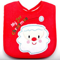1pc Babys Toddler Baberos Bibs Fabric Embroidered Christmas Gifts Bib Waterproof