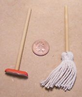 1:12 Scale Brush Kitchen Cleaning Accessory Mop & Broom Dolls House Miniature
