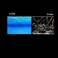 "19.3"" x 48"" Double Sided Fish Tank Aquarium Decoration Background Blue Sea/Wood"