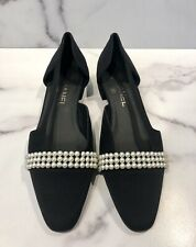 CHANEL Black Satin Pearl Cap Toe Loafers Shoes