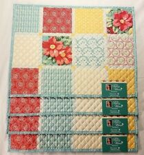 The Pioneer Woman Placemats Patchwork Floral Set of 4 Quilted Reversible New