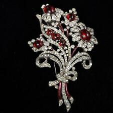 Trifari 'Alfred Philippe' flower spray bouquet with ruby red cabachon... Lot 257