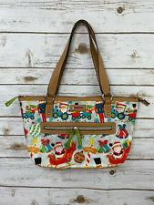 Lily Bloom Christmas Santa Blues Train Toys Teddy Double Handle Tote Bag Purse