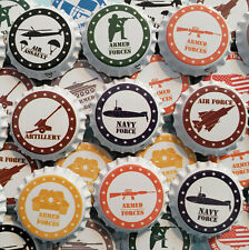 100 Homebrew Beer Bottle Caps 4th of July Patriotic Decoration Army Navy