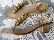 "JACK ROGERS metallic gold BALL BEADED LEATHER thong SANDALS 1 3/4"" heels 7  7.5"