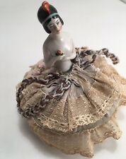 Vintage German Porcelain Pin Cushion Doll  Hand Painted Art Deco