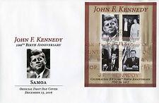 Samoa 2016 FDC John F Kennedy JFK 100th Birth 4v M/S Cover US Presidents Stamps