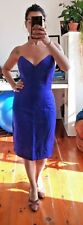 Vintage 80s Party Cocktail Strapless Sweetheart Pencil Purple Dress - Size 36